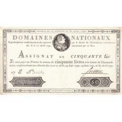Assignat 28a - 50 livres - 30 avril 1792 - Etat : SUP