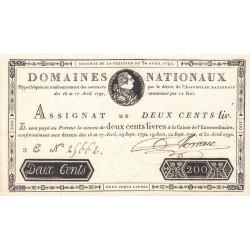 Assignat 29b - 200 livres - 30 avril 1792 - Etat : SPL-