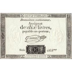 Assignat 36a-v1c- 10 livres - Filigrane inversé - 24 octobre 1792 - Etat : SUP