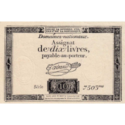 Assignat vérificateur 36v - 10 livres - 24 octobre 1792 - Etat : SUP
