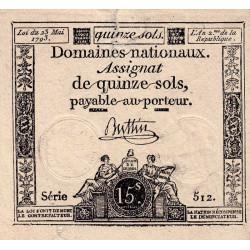 Assignat vérificateur 41v - 15 sols - 23 mai 1793 - Etat : TTB-