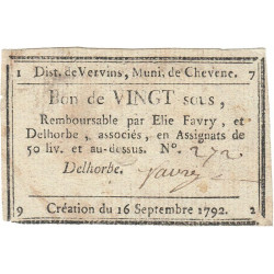 Aisne - Chevennes - Kolsky 02-037 - 20 sous - Etat : TTB