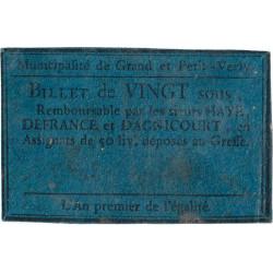 Aisne - Grand et Petit Verly - Kolsky 02-234 - 20 sous - Etat : TTB