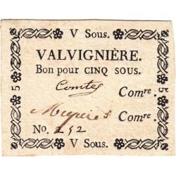 Ardèche - Valvignière - Kolsky 07-188 - 5 sous - Etat : SUP+