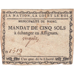Aveyron - Najac - Kolsky 12-086 - 5 sols - Etat : TTB