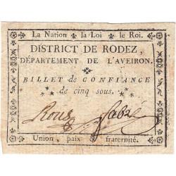Aveyron - Rodez - Kolsky 12-108 - 5 sous - Etat : SUP