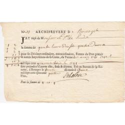 Cher - Bourges - Louis XV - Imposition de 1741 à 1744 - 4 livres