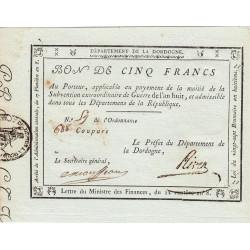Dordogne - Révolution - 5 francs - Extraordinaire de guerre - Etat : SPL à NEUF