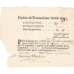 Eure - Ponteaudemer - Louis XV - Capitation de 1738 - 90 livres - Etat : SUP