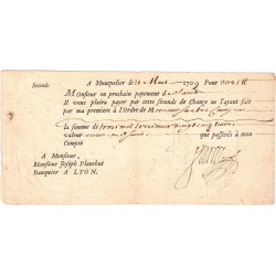 Hérault - Montpellier - Lyon - Louis XIV - Seconde de change 1709 - 3325 livres