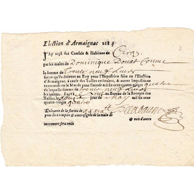 Landes - Armaignac - Louis XIII - Tailles ordinaires de 1634 - Etat : SUP