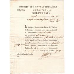 Lot-et-Garonne - Montesquieu - Louis XVI - Tailles : impositions extraordinaires 1775 - 402 livres - Etat : SUP
