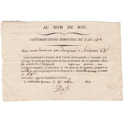Lot-et-Garonne - Sérignac - Louis XVIII 1ère Rest. - Contributions directes 1814 - Logement d'un garnisaire - Etat : SUP