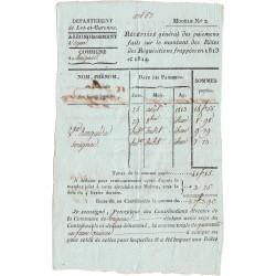 Lot-et-Garonne - Sérignac - Louis XVIII 1ère Rest. - Récipissé des paiements 1813 et 1814 - 41 francs 15 centimes - Etat : SUP