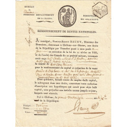 Marne - Chalons-en-Champagne - Consulat - Remboursement rentes nationales 1801