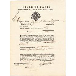 Seine - Paris - Louis XV - Vingtièmes et deux sols de 1763 - Etat : SUP