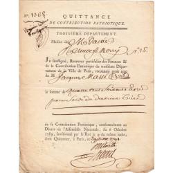 Seine - Paris - Révolution - Contribution patriotique 1791 - 460 livres
