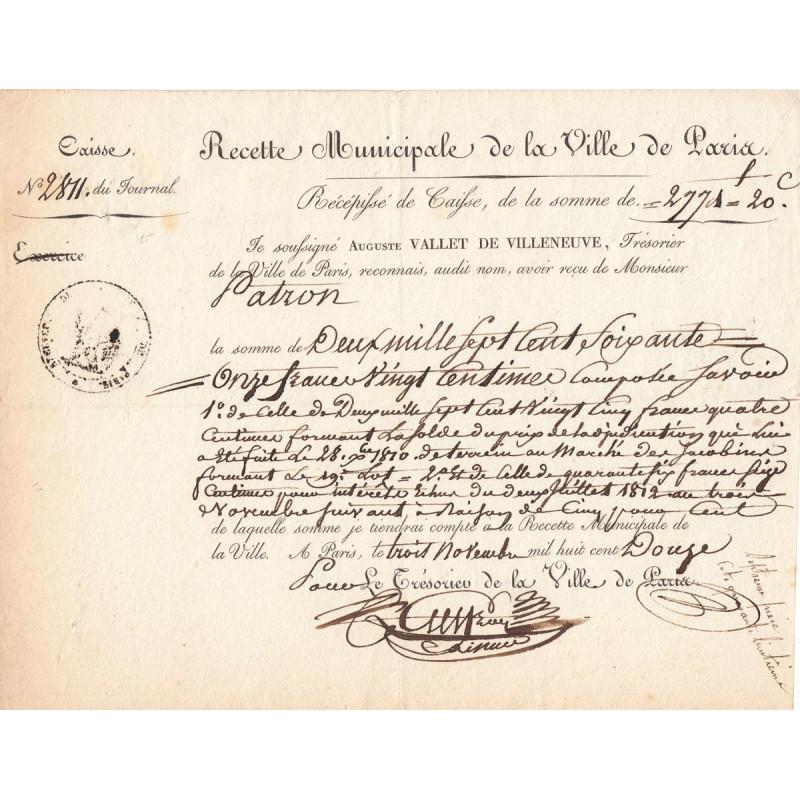 Seine - Paris - 1er empire - Recette municipale - 2771 francs - Etat : SUP