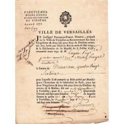 Yvelines - Versaille - Louis XV - Vingtièmes biens fonds de 1772 - Etat : TTB