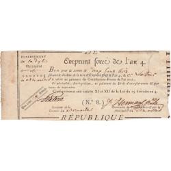 Belgique - Bruxelles - Révolution - Emprunt forcé de l'an IV - 200 francs