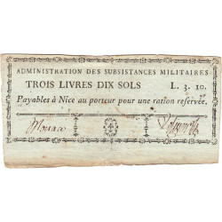 Alpes-Maritimes - Révolution - Nice - Monaco - 3 livres 10 sols