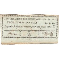 Alpes-Maritimes - Révolution - Nice - Monaco - 3 livres 10 sols - Etat : TTB+