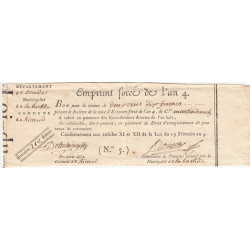 Aude - Labastide d'Anjou - Révolution - Emprunt forcé de l'an IV - 210 francs - Etat : TTB