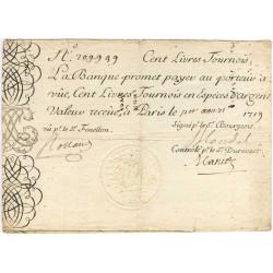 Law-Doreau 07 - Gravé - 100 livres tournois - 1er août 1719 - Etat : TTB
