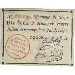 Siège de Mayence - Lafaurie 247 - 10 sols - Mai 1793 - Etat : TB+
