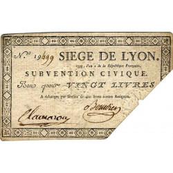 Siège de Lyon - Lafaurie 252 - 20 livres - Août 1793 - Etat : TTB-
