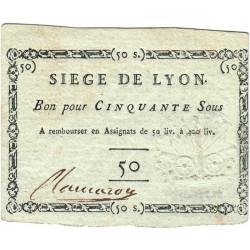 Siège de Lyon - Lafaurie 254 - 50 sous - Septembre 1793 - Etat : SUP+