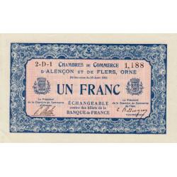 Alençon / Flers (Orne) - Pirot 6-17 - 1 franc - 1915 - Etat : SPL