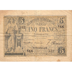 Paris - Comptoir d'Escompte - 5 francs - Etat : TB