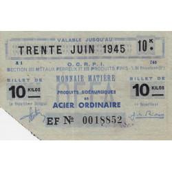 Billet de 10 kg acier ordinaire - 30-06-1945 - Endossé - Etat : SUP
