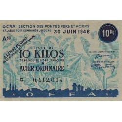 Billet de 10 kg acier ordinaire - 30-06-1946 - Endossé - Etat : SUP à SPL