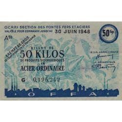 Billet de 50 kg acier ordinaire - 30-06-1946 - Endossé - Etat : SUP