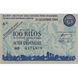 Billet de 100 kg acier ordinaire - 31-12-1946 - Endossé - Etat : SUP