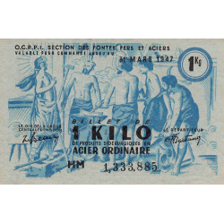 Billet de 1 kg acier ordinaire - 31-03-1947 - Non endossé - Etat : SUP+