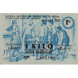 Billet de 1 kg acier ordinaire - 31-03-1947 - Non endossé - Etat : SUP