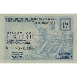 Billet de 1 kg acier ordinaire - 31-12-1948 - Endossé - Etat : SUP