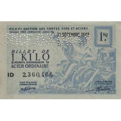 Billet de 1 kg acier ordinaire - 31-12-1948 - Endossé par perforations - Etat : SPL à NEUF