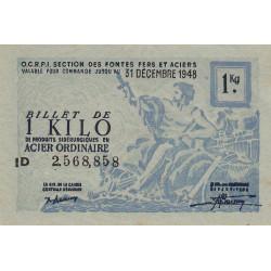 Billet de 1 kg acier ordinaire - 31-12-1948 - Non endossé - Etat : SUP+