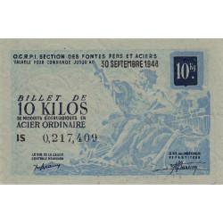 Billet de 10 kg acier ordinaire - 30-09-1948 - Endossé - Etat : SUP