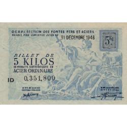 Billet de 5 kg acier ordinaire - 31-12-1948 - Endossé - Etat : SPL+
