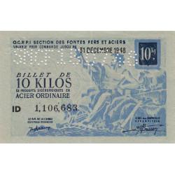 10 kg acier ordinaire - 31-12-1948 - Perforations SNCF - Etat : SUP