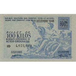 Billet de 100 kg acier ordinaire - 31-12-1948 - Non endossé