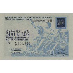 Billet de 500 kg acier ordinaire - 31-12-1948 - Endossé
