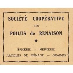 42-nr Renaison - Société Coopérative des Poilus - 5 francs - Etat : SUP
