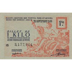 1 kg produits moulés acier ordinaire et fonte - 30-09-1948 - Non endossé - Etat : SPL