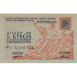5 kg produits moulés acier ordinaire et fonte - 30-09-1948 - Endossé - Etat : SPL